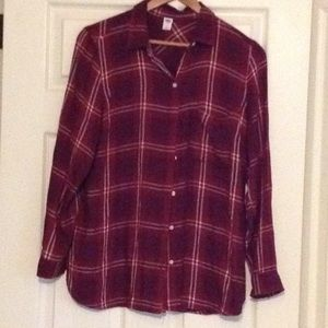 EUC OLD NAVY Red Plaid Flannel Tunic Shirt